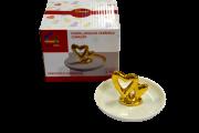 Porta-jóias de Cerâmica Coração Metálico