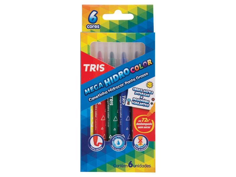 Caneta Hidrocor TRIS Mega Hidro Color Ponta Grossa 6 Cores