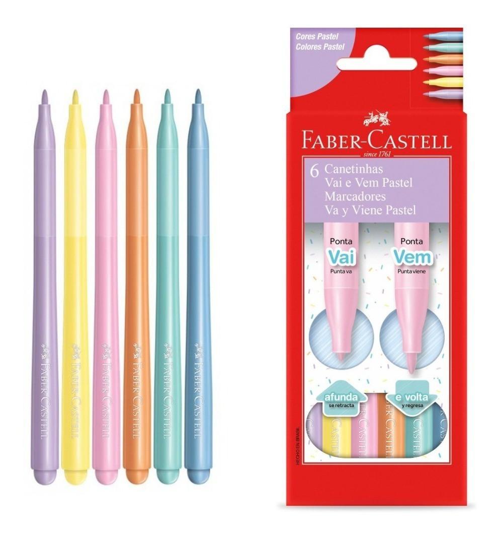 Canetinha Vai e Vem 6 Cores - Faber-Castell