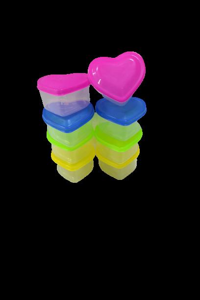 Conjunto de Potes Coração Colorido 8 unidades - Dubai