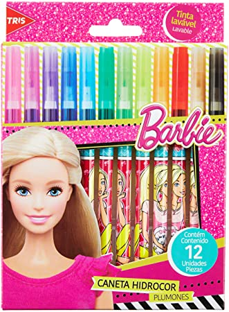Hidrocor Barbie Ponta Fina 12 Cores – Tris