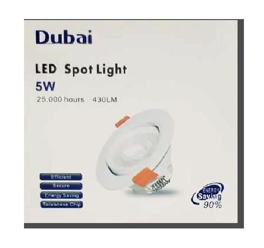 KIT C/ 10 Unidades - Spot LED  5w - Redondo De Embutir Direcionável / Branco Frio