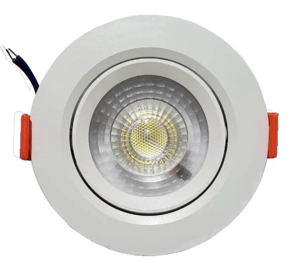 KIT C/ 50 - Spot LED  5w - Redondo De Embutir Direcionável / Branco Quente