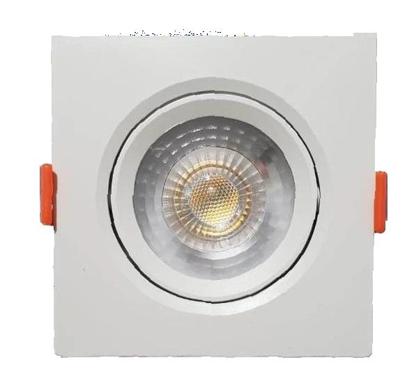 KIT C/ 50 Unidades - Spot LED  5w - Quadrado De Embutir Direcionável / Branco Quente