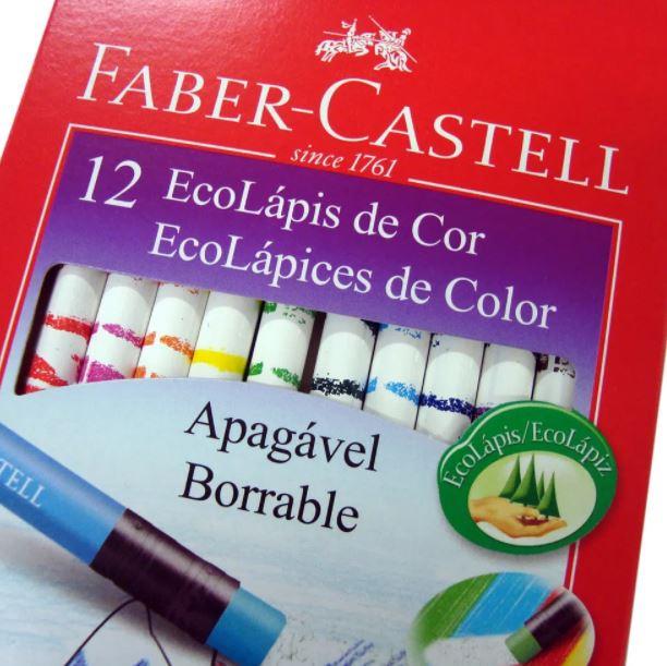 Lápis  de Cor Apagável 12 Cores Ecolápis - Faber - Castell