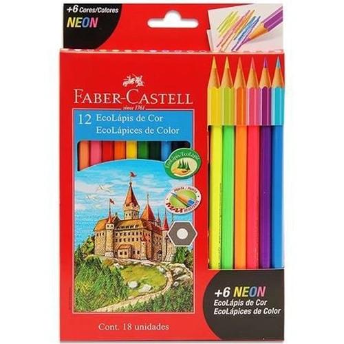 Lápis de Cor EcoLápis 12 Cores + 6 Cores Neon.