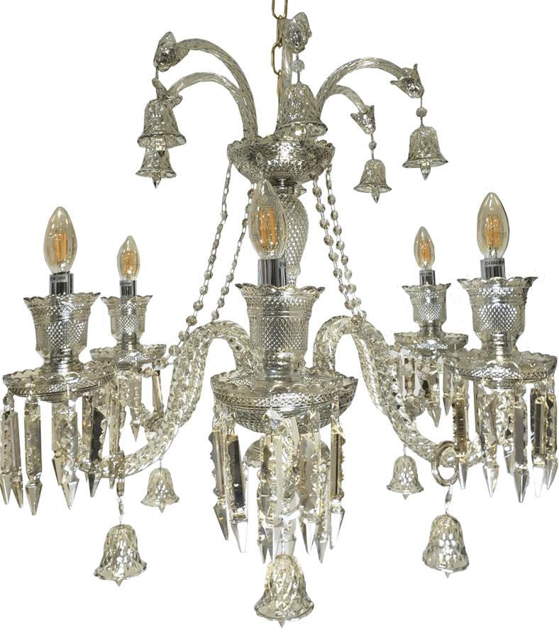 Lustre Cristal Legítimo K9 6 Braços Conhaque (1186-6C)