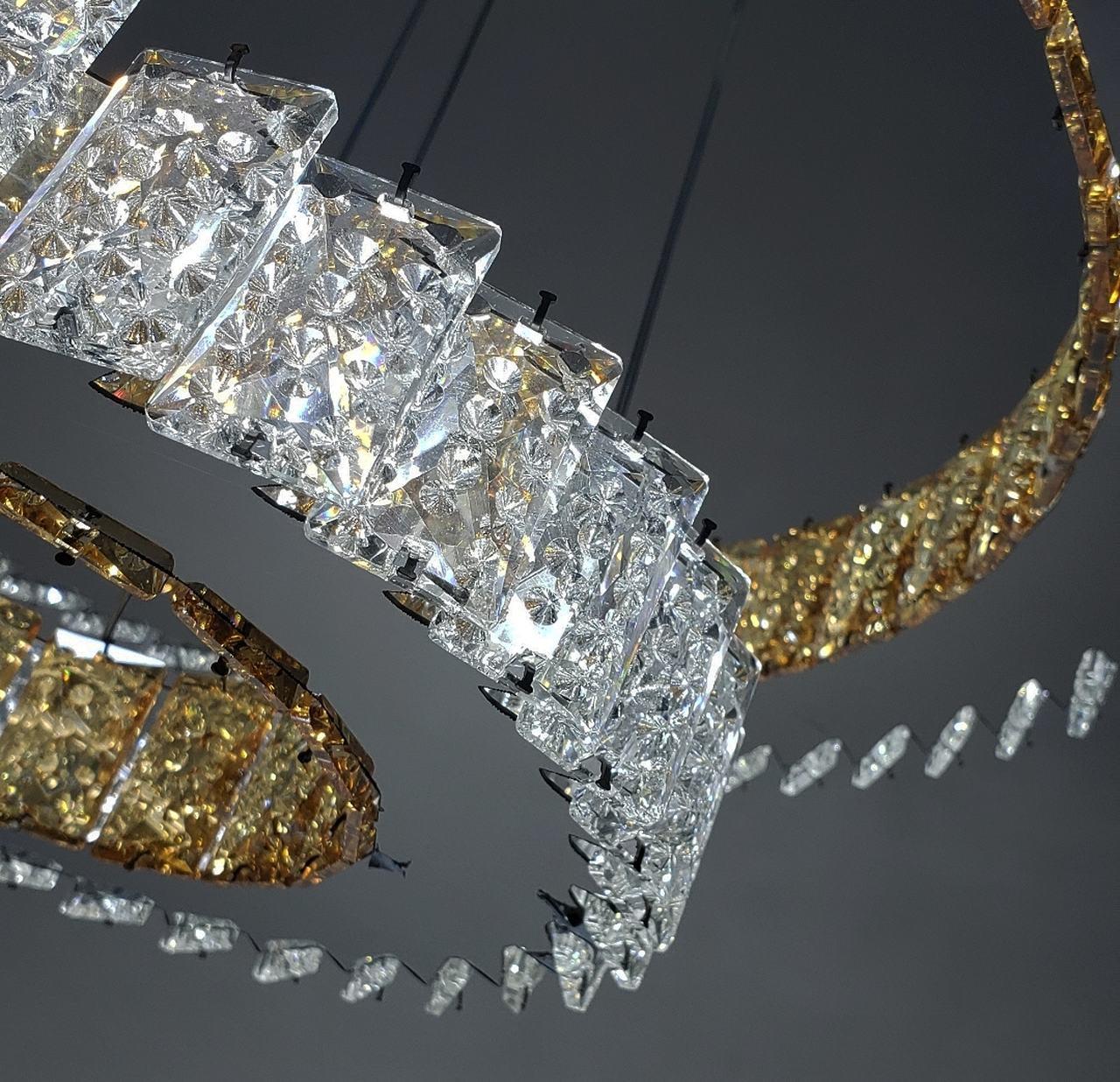 Lustre De Cristal Legítimo K9 2 AROS Transparente Com Champanhe