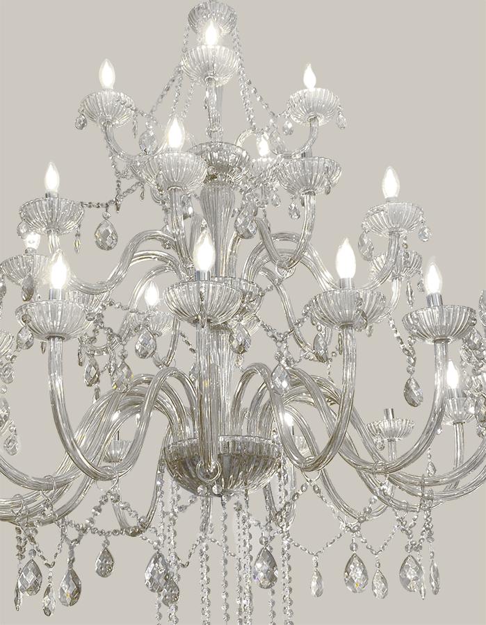 Lustre de Cristal Legítimo K9 30 Braços Transparente Pé Direito Alto