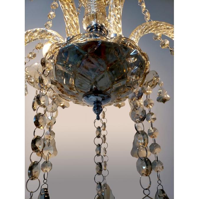 Lustre De Cristal Legítimo K9 6 Braços Conhaque (1189-6 C)