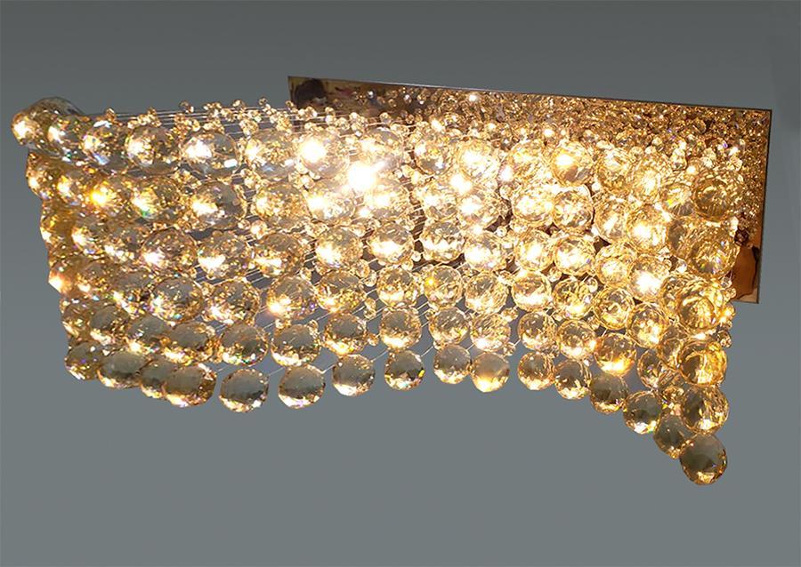 Lustre De Cristal Legítimo K9 Champanhe Efeito Ondas C/ Lâmpadas