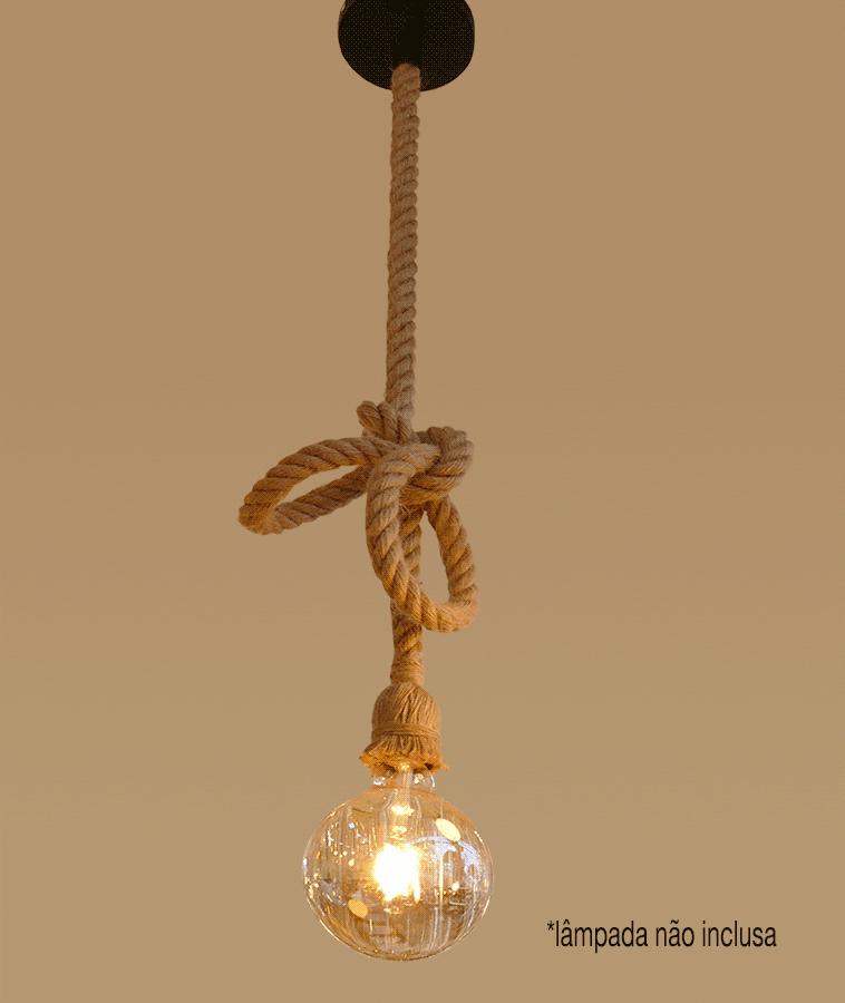 Lustre Pendente Corda 1,80 M para 1 Lâmpada E27 SEM ESTOQUE
