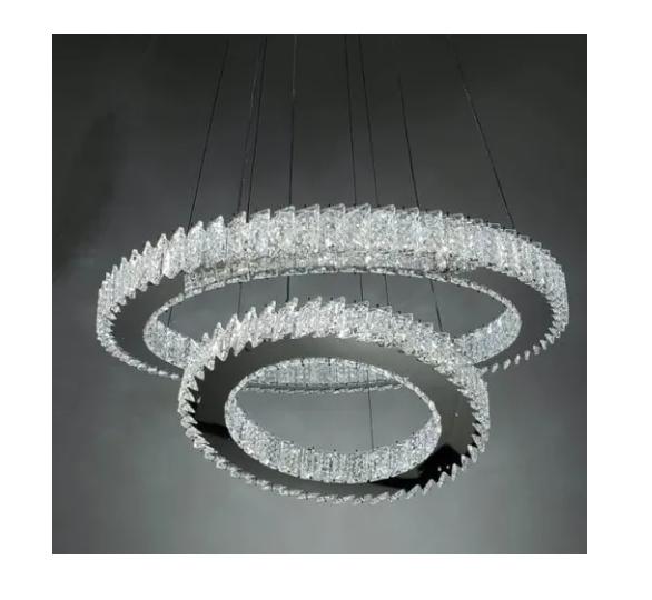Lustre Pendente De Cristal Legítimo Transparente - 2 Aros  (96039-T)