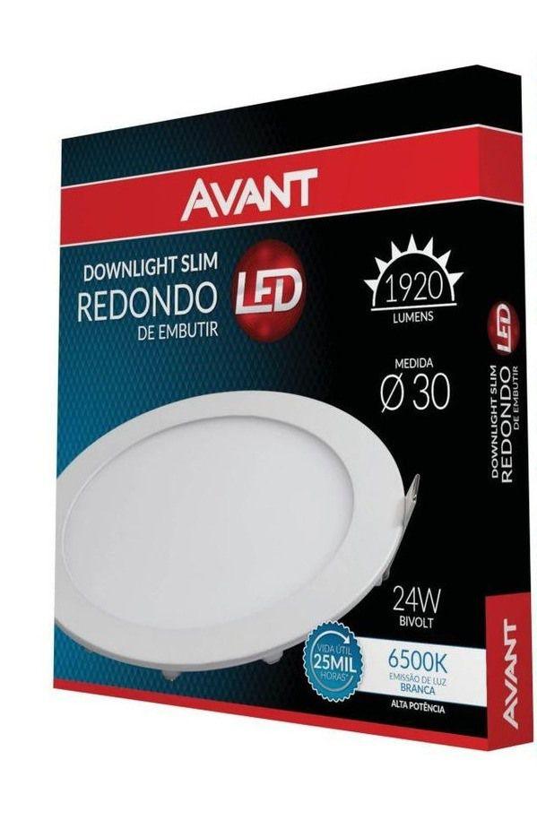 Painel LED de Embutir Redondo 30 cm 24w Branco Frio 6500K