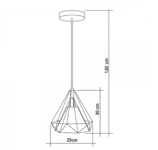 Pendente Aramado Piramidal 25cm Cobre/Café