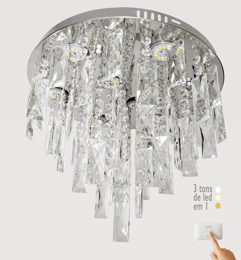 Plafon de Cristal Legítimo K9 Lâmpadas de LED com 3 Tonalidades de Cor A6905/400-CH