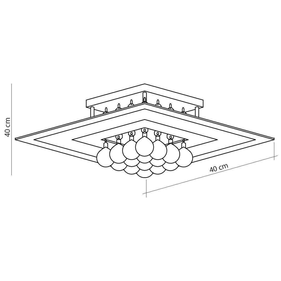 Plafon de Cristal Roma Quadrado Branco