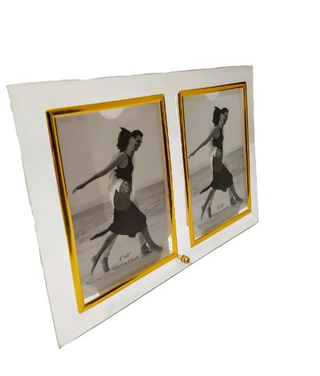 Porta Retrato Duplo de Vidro 10 x 15cm - Dubai