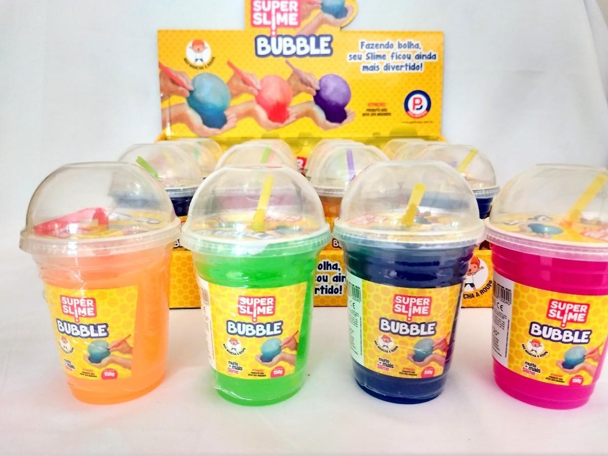 Super Slime Bubble Com Canudo Geleca cores variadas 150g