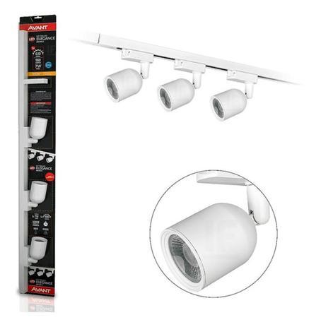 Trilho de LED Elegance Preto ou Branco C/3 Spot 6500K Luz Branca 7W - Avant