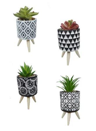 Vaso Decorativo c/planta pés de madeira- Dubai