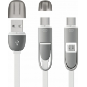 Cabo USB Tipo C e Micro USB Branco 1,5m Type-C Multilaser WI351 para Celular Smartphone Tablet