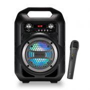 Caixa de Som Portátil 6 em 1  Multilaser SP255 Bluetooth MP3 Player Rádio FM com Bateria e Microfone
