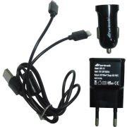 Kit de Carregadores USB para Celulares AC Bivolt + DC 12V Fortrek MPK-101