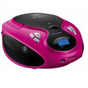 Rádio Boombox Toca CD Multilaser SP179 Rosa MP3 Player Rádio FM USB SD AUX