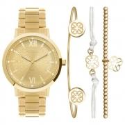 Relógio Feminino Dourado Euro Soul Luxuoso Com Brilhos Pulseira de Aço Inoxidável EU2035YSM/K4D