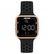Relógio Feminino Mormaii Wave Rose Preto Digital À Prova D'água Pulseira de Silicone Preta MO6600/8J