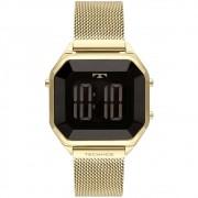 Relógio Feminino Technos Crystal Dourado Quadrado Digital À Prova D'água Pulseira de Aço BJ3851AJ/4P