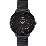 Relógio Feminino Technos Elegance Crystal Swarovski Preto Luxo Pulseira Mesh de Aço 2035MLF/1P