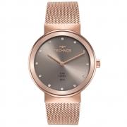 Relógio Feminino Technos Rosê Fashion Brilhante Analógico Pulseira Mesh Rose Aço Inox 1L22WN/1C