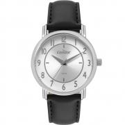 Relógio Masculino Condor Prata Preto Clássico Social Analógico Pulseira de Couro Preta CO2035MRY/2K