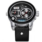 Relógio de Pulso Masculino Weide WH2305 Preto Esportivo Grande Analógico e Digital Pulseira de Couro