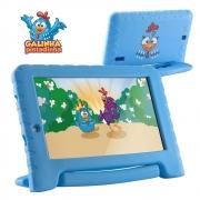Tablet Infantil Galinha Pintadinha Kid Pad Plus Multilaser NB311 Capa Azul 16GB Bluetooth Wi-Fi