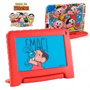 Tablet Infantil Turma da Mônica Multilaser NB341 Bluetooth Wi-Fi 16GB com Capa Emborrachada e Vídeos