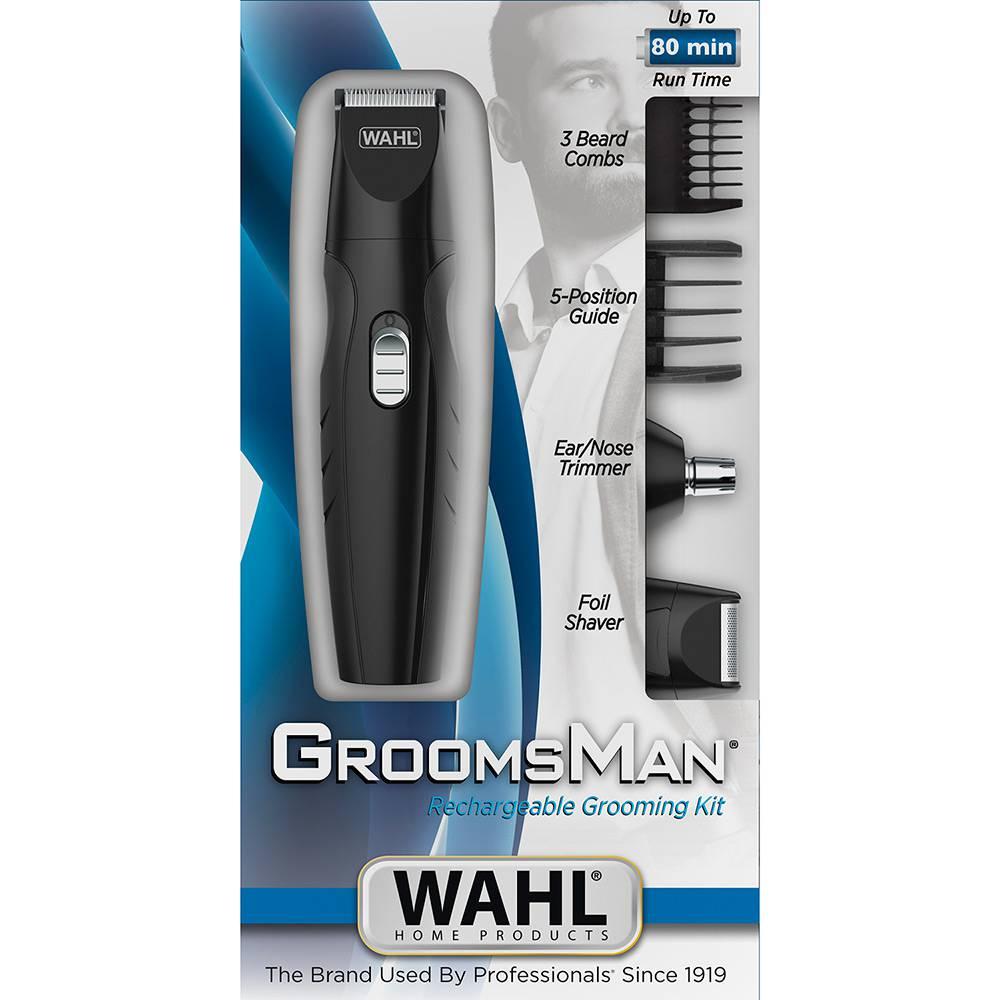 Aparador Wahl GroomsMan Máquina de Cortar Cabelo Barba Pelos Bivolt com Bateria Recarregável