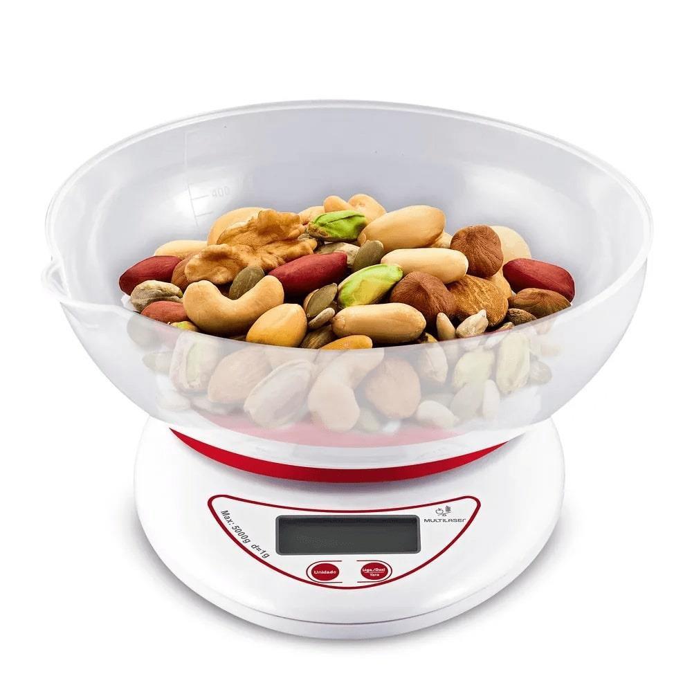 Balança de Cozinha Digital de Precisão Multilaser CE110 Gourmet 5Kg Com Tigela Removível Função Tara