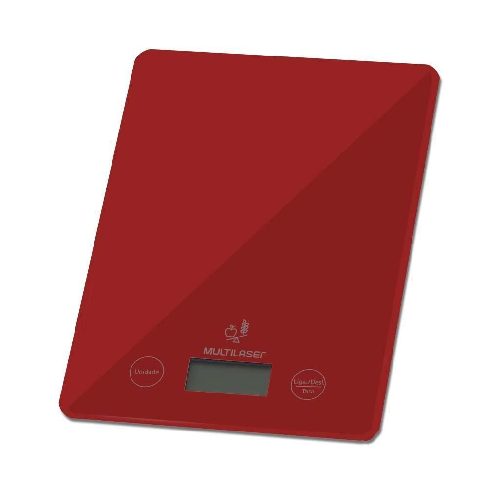 Balança de Cozinha Digital de Precisão Multilaser CE118 Vermelha 5Kg Vidro Temperado Função Tara