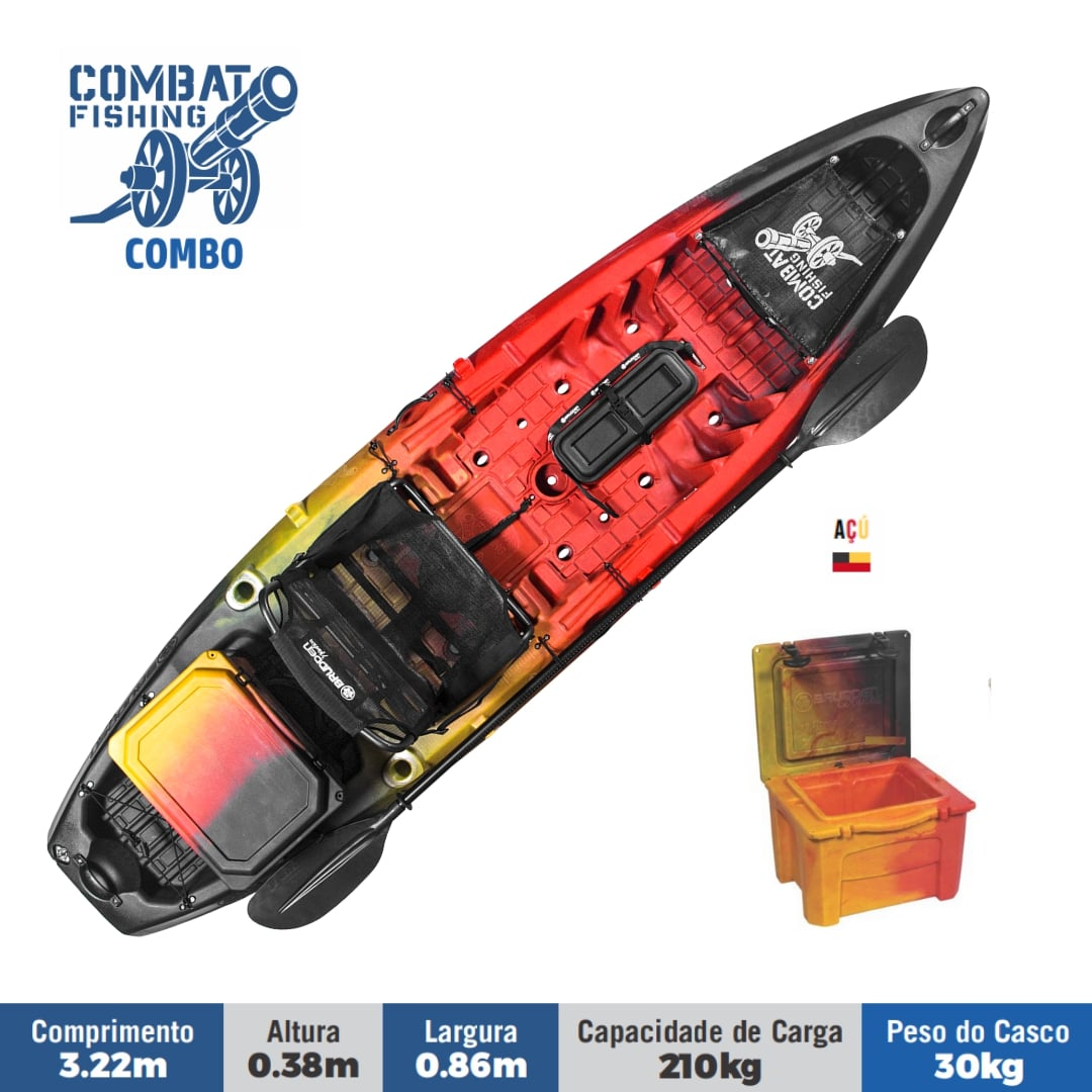 Caiaque Para Pesca Brudden Náutica Combat Fishing - Combo Com Cooler de 15 Capacidade de Carga 210 Kg