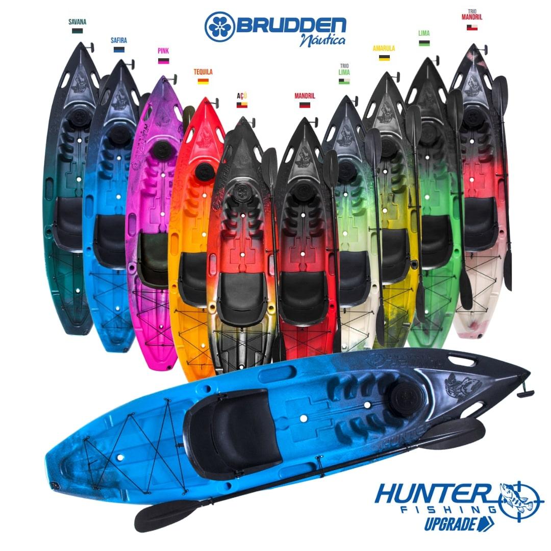 Caiaque para Pesca Brudden Náutica Hunter Fishing UP Profissional Upgrade Capacidade de Carga 190 kg