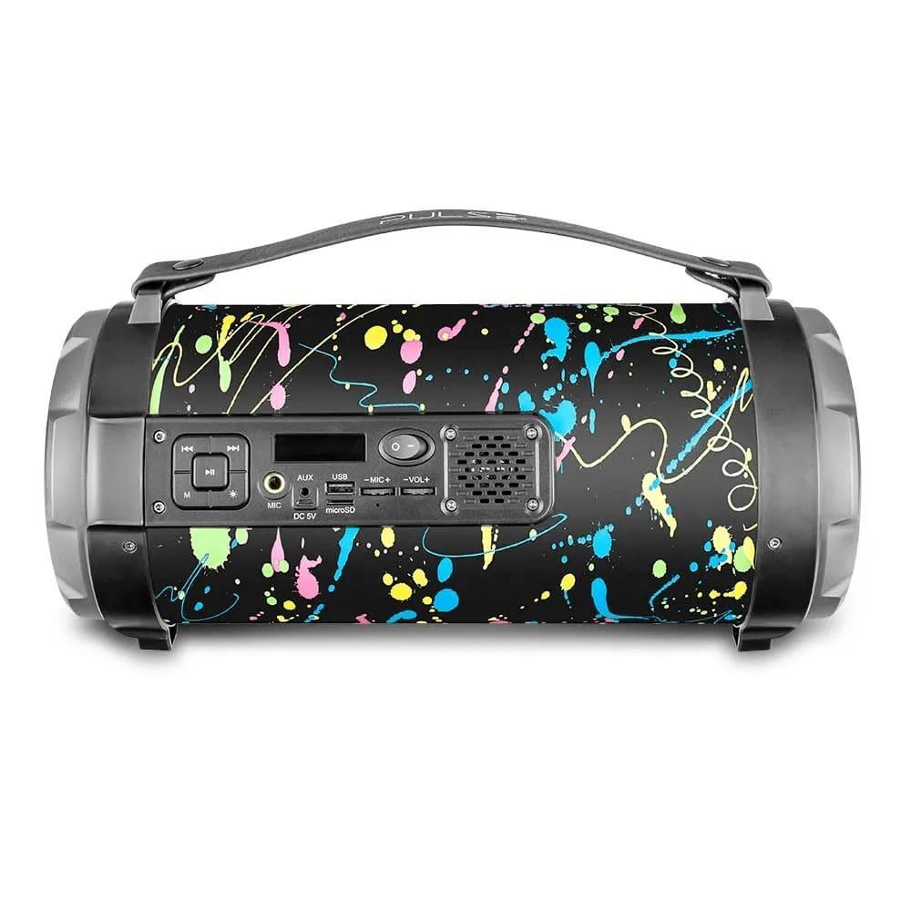 Caixa de Som Bazooka Pulse SP362 Bluetooth 120W Entrada para Microfone USB Micro SD Rádio FM Luzes
