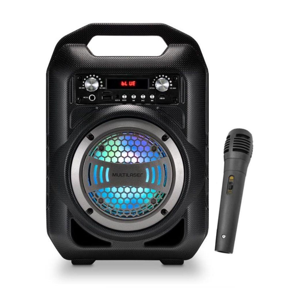 Caixa De Som Bluetooth Multilaser SP255 com Microfone Rádio FM MP3 Player USB Função Troca de Pastas