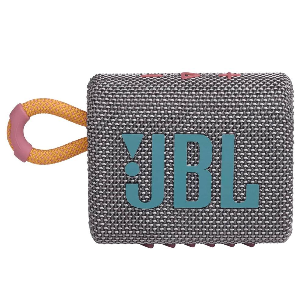 Caixa de Som JBL GO 3 Cinza Pro Sound Bluetooth À Prova D'água e Poeira IP67 JBLGO3GRY