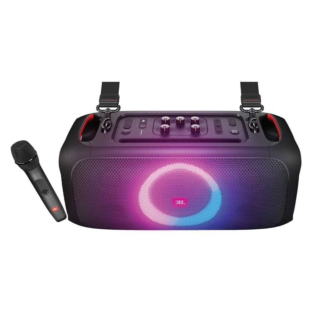 Caixa de Som JBL PartyBox On-The-Go Bluetooth com Microfone Sem Fio Entrada para Pendrive USB Luzes