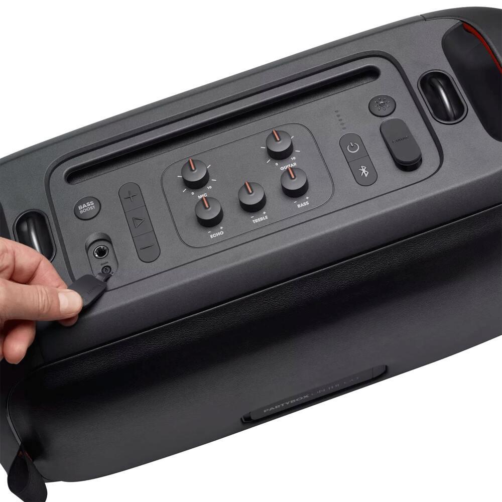 Caixa de Som JBL Partybox ON THE GO Bluetooth TWS 100W RMS Portátil com Luzes Microfone Entrada USB