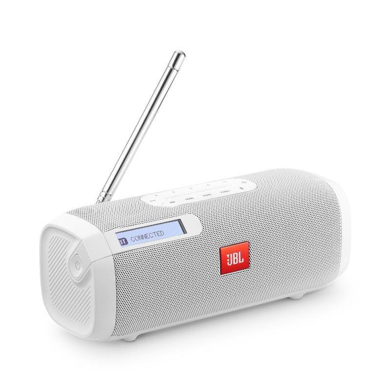 Caixa de Som JBL Tuner FM Branca Speaker Bluetooth Portátil Sintonizador de Rádio FM Digital com RDS
