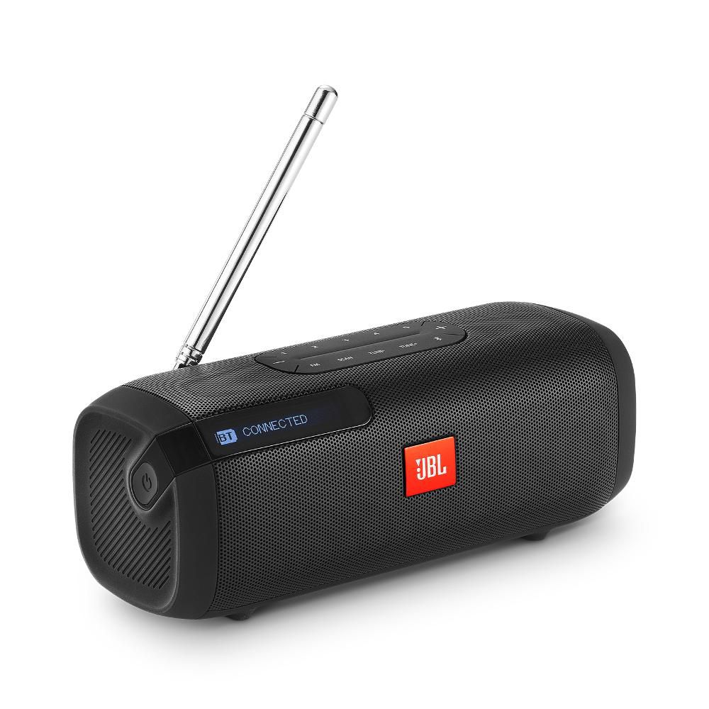 Caixa de Som JBL Tuner FM Preta Speaker Bluetooth Portátil Sintonizador de Rádio FM Digital com RDS